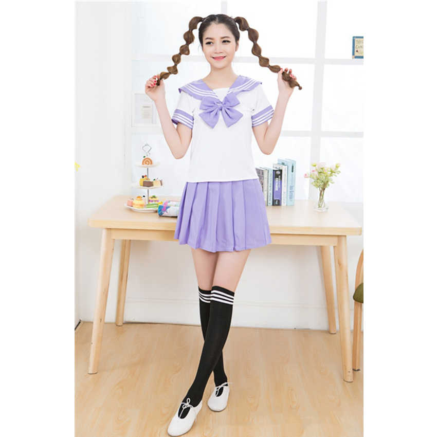 Японская школьная форма, 7 цветов, костюм моряка для маскарада, индивидуальный стиль для девочек, топы с бантом в морском стиле и плиссированная юбка, Студенческая форма