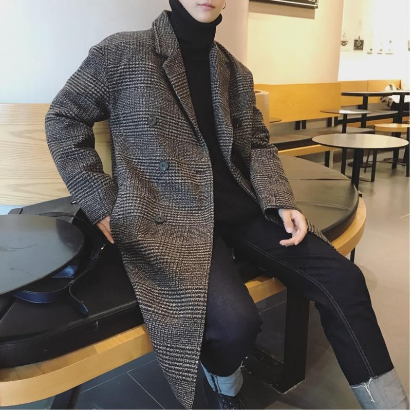 2018 зимнее мужское корейское двубортное длинное стеганое шерстяное пальто игольчатого цвета Повседневная ветровка черного/кораллового красного цвета