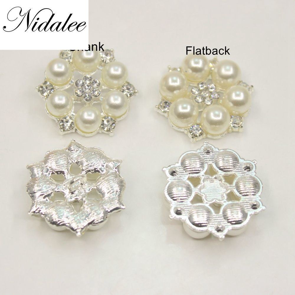 28mm Pearl Rhinestone Flatback Shank  Buttons  Alloy Acrylic DIY Wedding Accessories Mobile Phone Shell Bow Hair Accessories