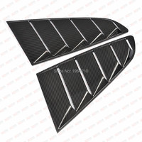 MONTFORD For Ford Mustang 2015 2016 2017 Carbon Fiber Rear Window Fender Air Vent Cover Sticker Decoration 2Pcs Car Accessories