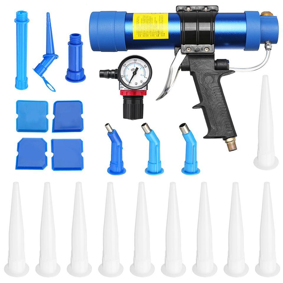 Pistolets à mastic pneumatiques 310 ml pistolets à Air vanne Silicone saucisses outil de calfeutrage buse de calfeutrage verre caoutchouc coulis outils de Construction