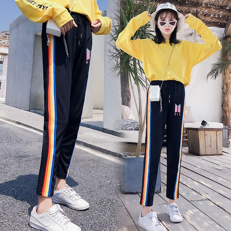 Kpop BTS Black cotton loose pants Women casual fashion pants korea popular autumn warm Har