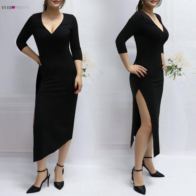 Casual Mode Kleider 2018 Neue Ankunft V-ausschnitt Asymmetrische Seite Split Drei Viertel A-linie Einzigartige Party Kleider As05941