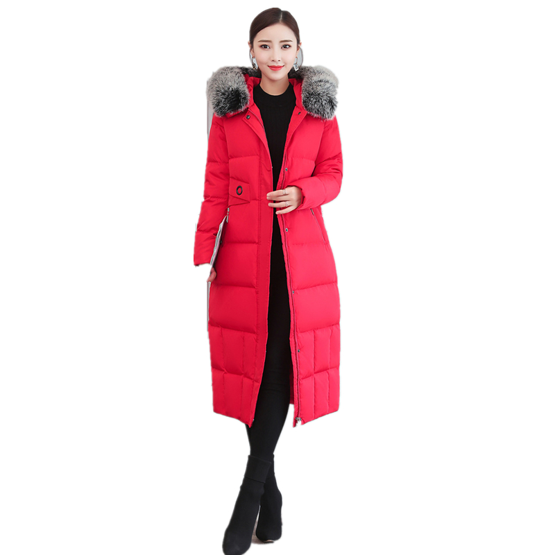 S-3XL Winter Womens   Down   Jackets Streetwear X-Long Women   Down     Coat   Hooded Parkas Natural Fox Fur Collar Warm Female Winter   Coats