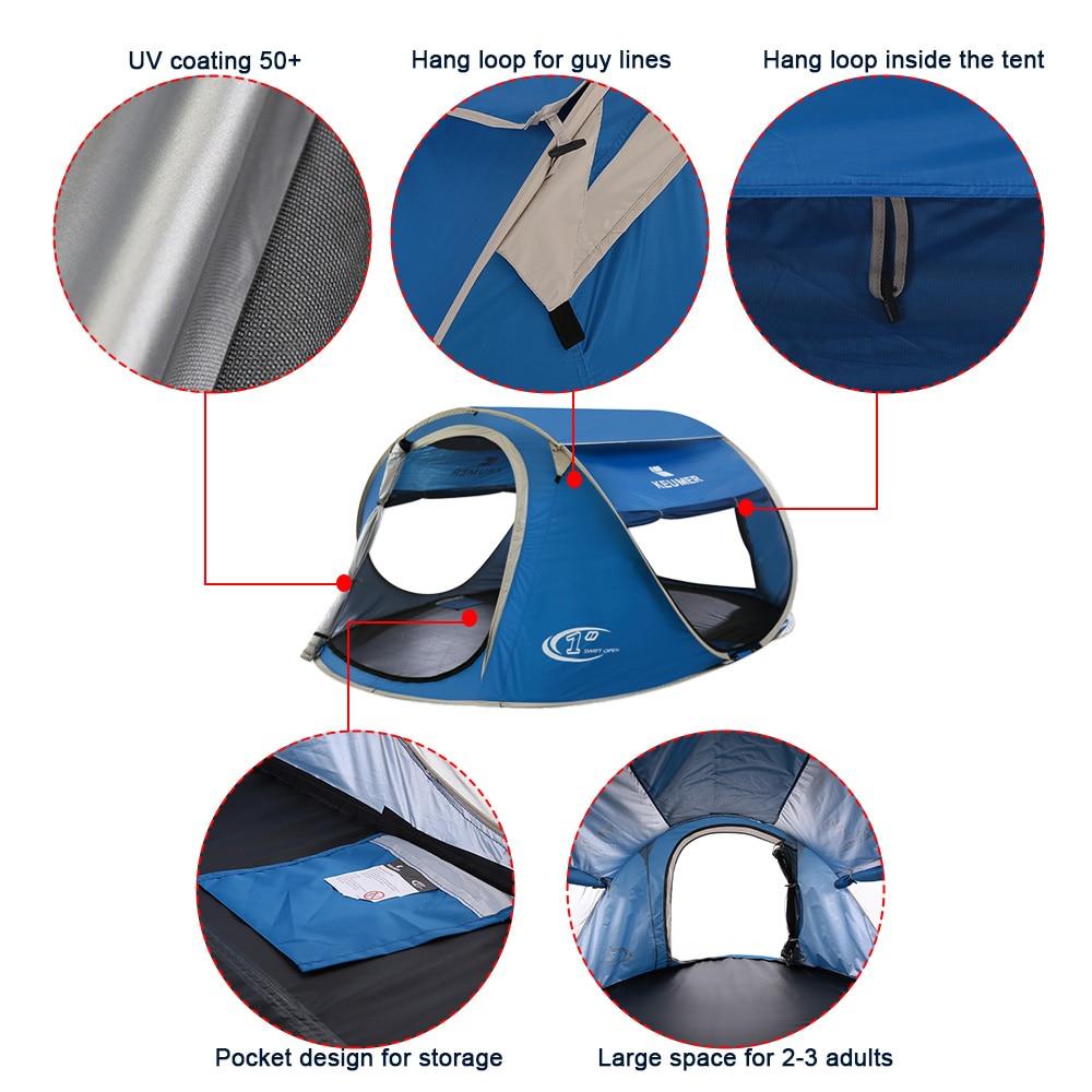 3-4 personne Pop Up tente de camping Grand Automatique Configuration Instantanée Pliable Voyager abri de plage anti-UV Revêtement avec un sac de transport - 3