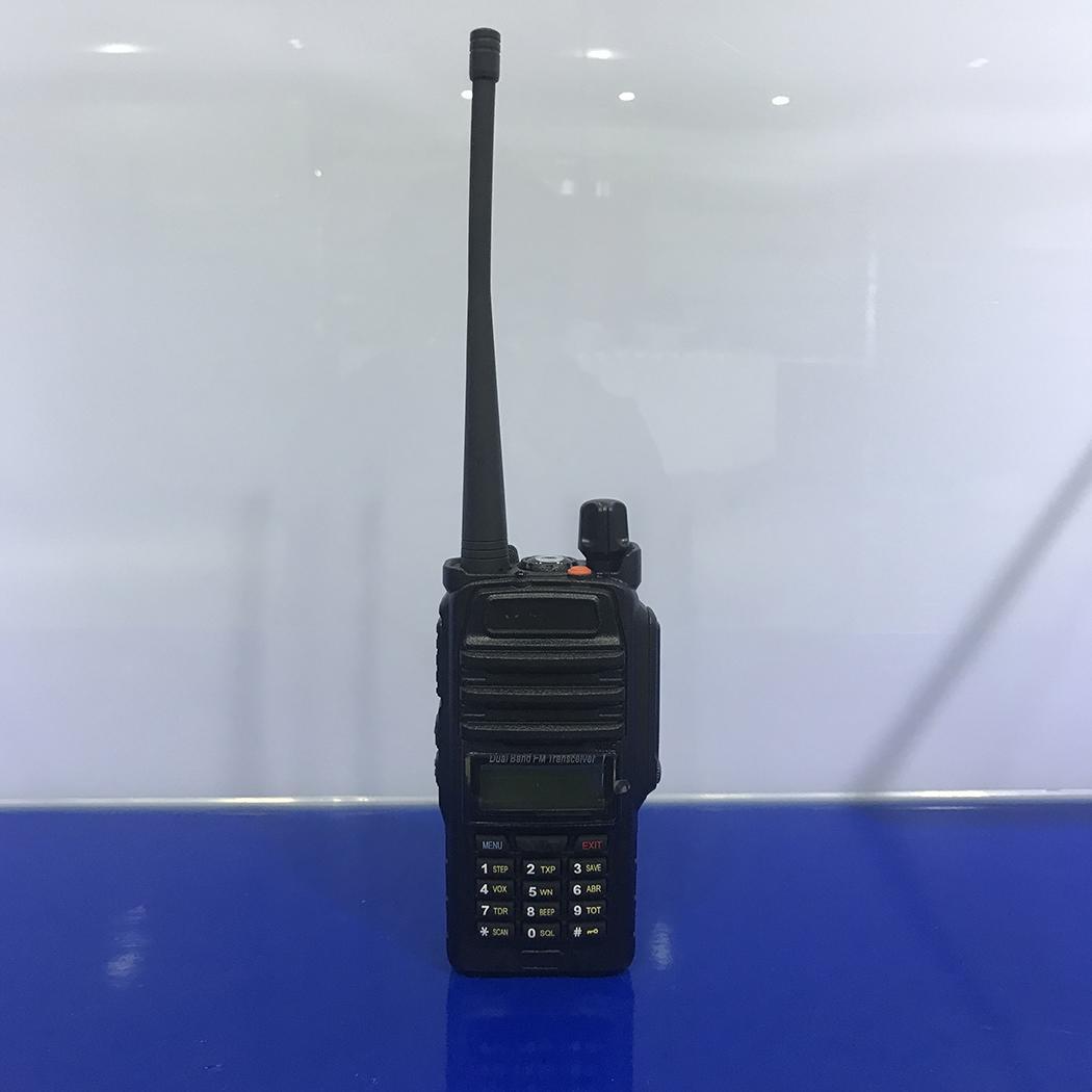 Portable Wireless Two Way Walkie Talkie 8W 400-520MHz Radio DC 7.4V FM 136-174MHZ Black Transceiver 1-5KM