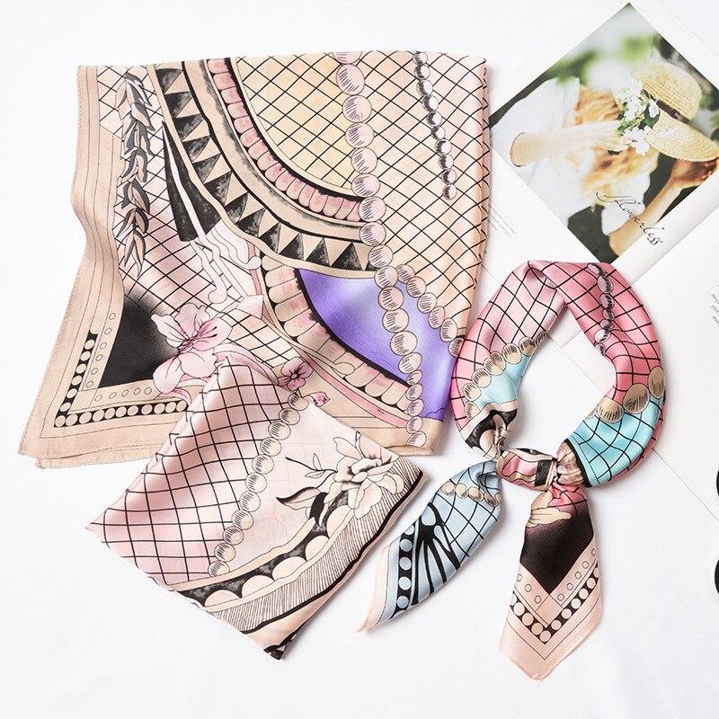 70*70Cm Square Silk Feel Satin   Scarf   Spain Luxury Brand Women Striped Line Head Skinny Hair Tie Band Small Kerchief   Wrap   Snood