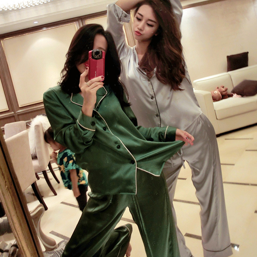 YJSFG HOUSE Women's Pajama Sets Silk Satin Thin Tops Pants Pajamas Set Long Sleeve Button-Down Sleepwear Ladies Hot Sleep Lounge(China)