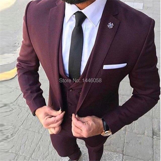 15794782141c7 Satılık 2019 Kostüm Homme 3 Adet Erkek Takım Elbise Slim Fit Bordo ...