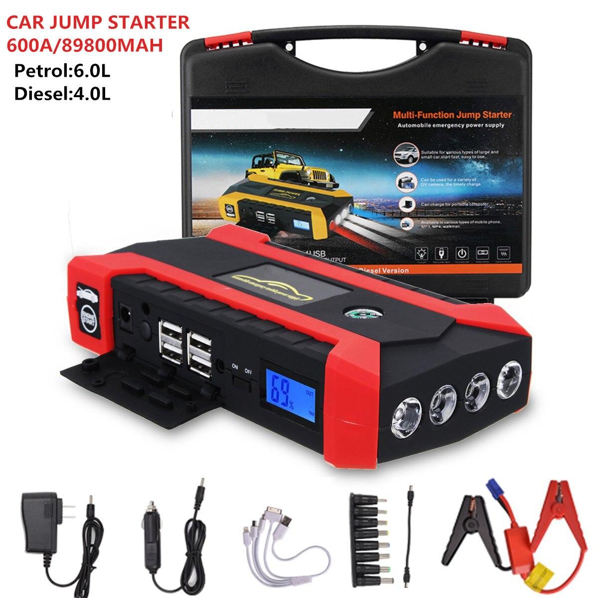 12 V 600A Portable voiture saut démarreur multifonction Auto voiture chargeur Booster chargeur chargeur portatif de secours dispositif de démarrage