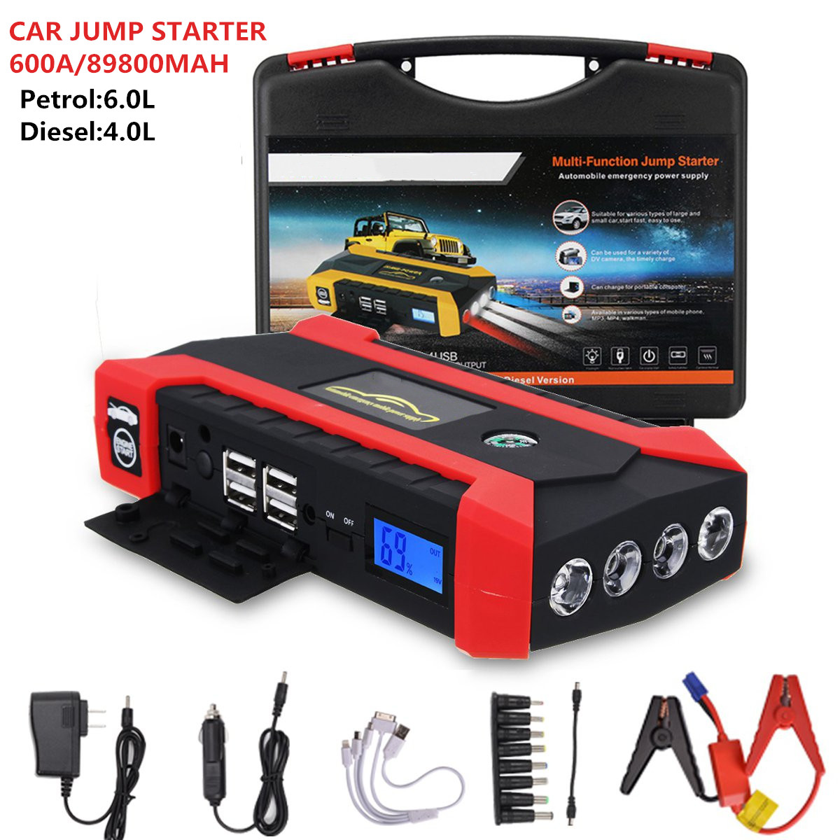 12V 600A Portable Car Jump Starter  Multifunction Auto Car Battery Booster Charger Booster Emergency Power Bank Starting Device