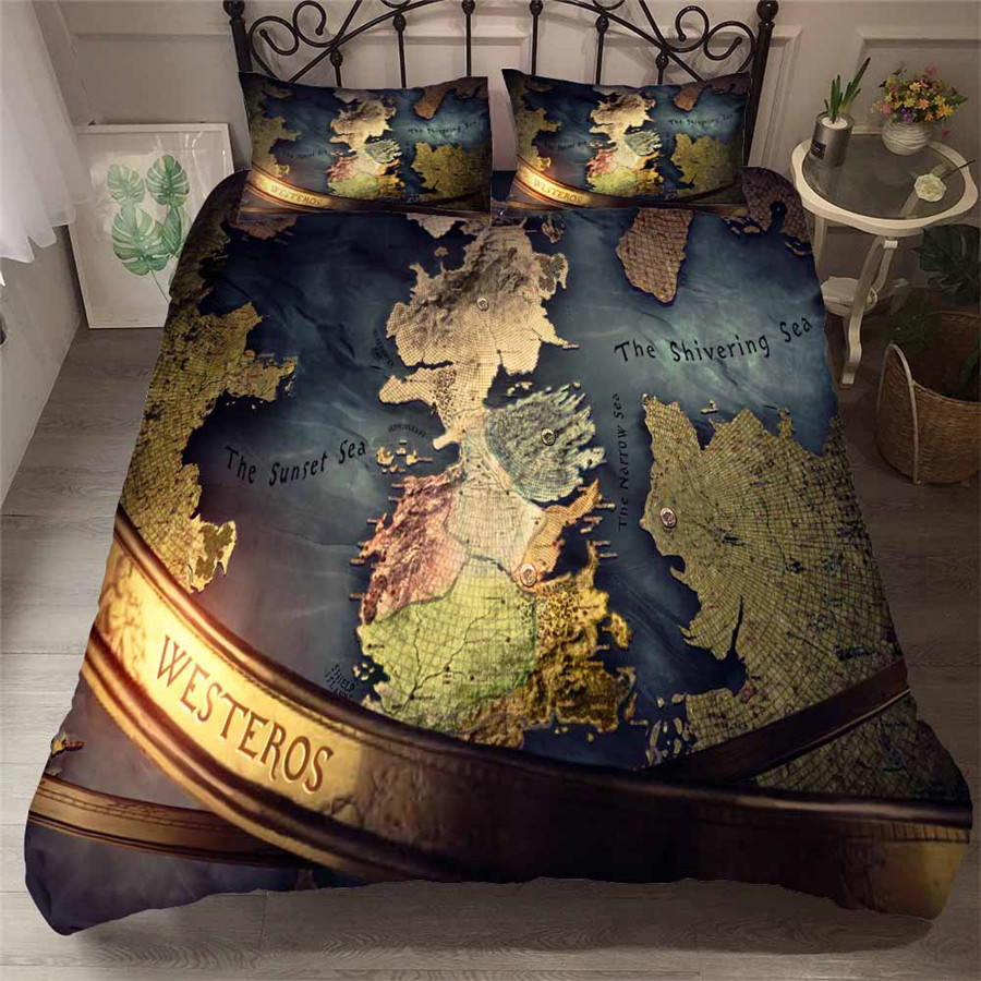 HELENGILI 3D Bedding Set Game Of Thrones Print Duvet Cover Set Bedcloth With Pillowcase Bed Set Home Textiles #GOT-64