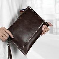 New Fashion Genuine Leather Wallet Men Wallets Men's Handbag Clutch Bag Business Handbags Money Bags Phone Purse Cartera Hombre