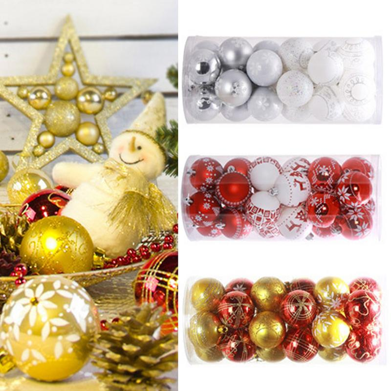 6cm*24 Snowflake Print Multi Color Christmas Balls ...