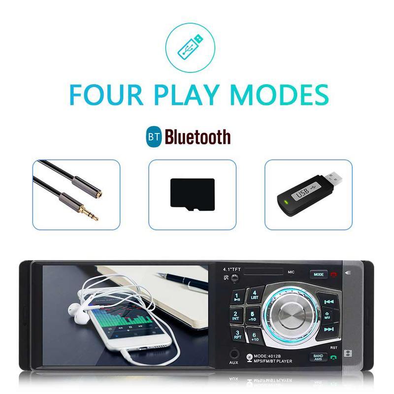 4.1 pouces 1 DIN voiture MP5 lecteur Bluetooth FM transmetteur Radio stéréo unité de tête avec télécommande peut être connecté à la caméra