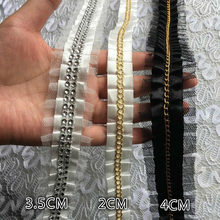 White Black Beaded Chain Pleated Satin Mesh Lace Luxury Tulle Folded Sewing Lace Fabric Collar Applique 3D Women Dress Guipure(China)