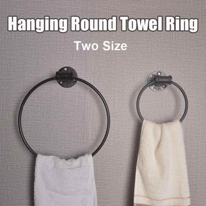 15 cm Dia./27 cm Dia. Metalen Ijzeren Ring Wall Mount Opknoping Houder Zwarte Hardware Badkamer Planken Handdoek Ronde Ring Retro Rack