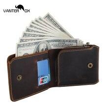 VANTER OX Vintage Men Crazy Horse Leather Wallet With Zipper Coin Pocket Handmade Short Men Genuine Leather Purse Card Holder