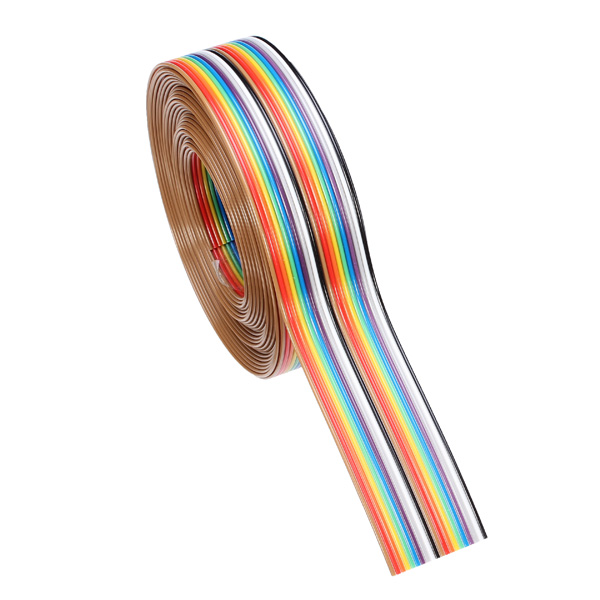 1PC 5M 1.27mm 20 Pin DuPont Cable Rainbow Flat Line Support Wire Connector Wire For DIY Soldered Cable Tinned Copper Electrical