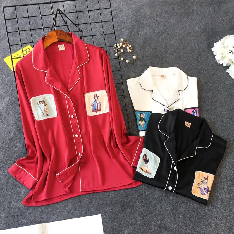 2019 Spring Silk Pyjamas Women   Pajamas     Sets   With Pants Flower Print Long Sleeve Satin Sleepwear Pijama Mujer Female Nightsuit