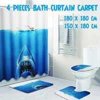 Bath Mat Set Rug Lid DeepSea Shark 3D Waterproof Shower 3Pcs Non Slip Toilet Cover Home Bathroom Curtains 180*180CM/150CM