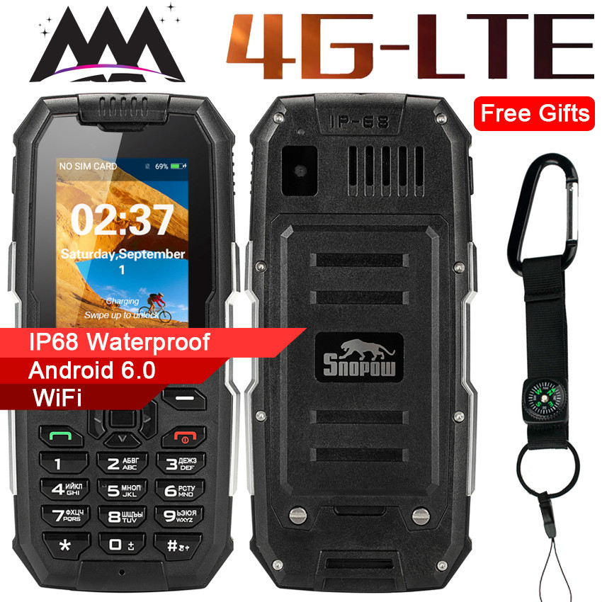 Snopow M2 Plus 4G WIFI GPS Russian keyboard IP68 Waterproof Shockproof mobile Phone 1GB+8GB MTK6737 2500mAh Unlocked cell PhonesSnopow M2 Plus 4G WIFI GPS Russian keyboard IP68 Waterproof Shockproof mobile Phone 1GB+8GB MTK6737 2500mAh Unlocked cell Phones