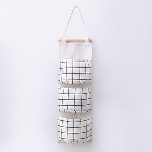 Image 5 - Originality Cotton Waterproof Organizer Storage Bag 3 Layer Hanging Pocket Lattice Cloth Door Back Accept Vakuum Bag Clothes
