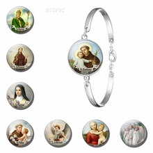 St Anthony Bracelet Bangle Silver Chain Saint Bring Love To Your Life Religious Glass Dome Cabochon Jewelry Birthday Gift