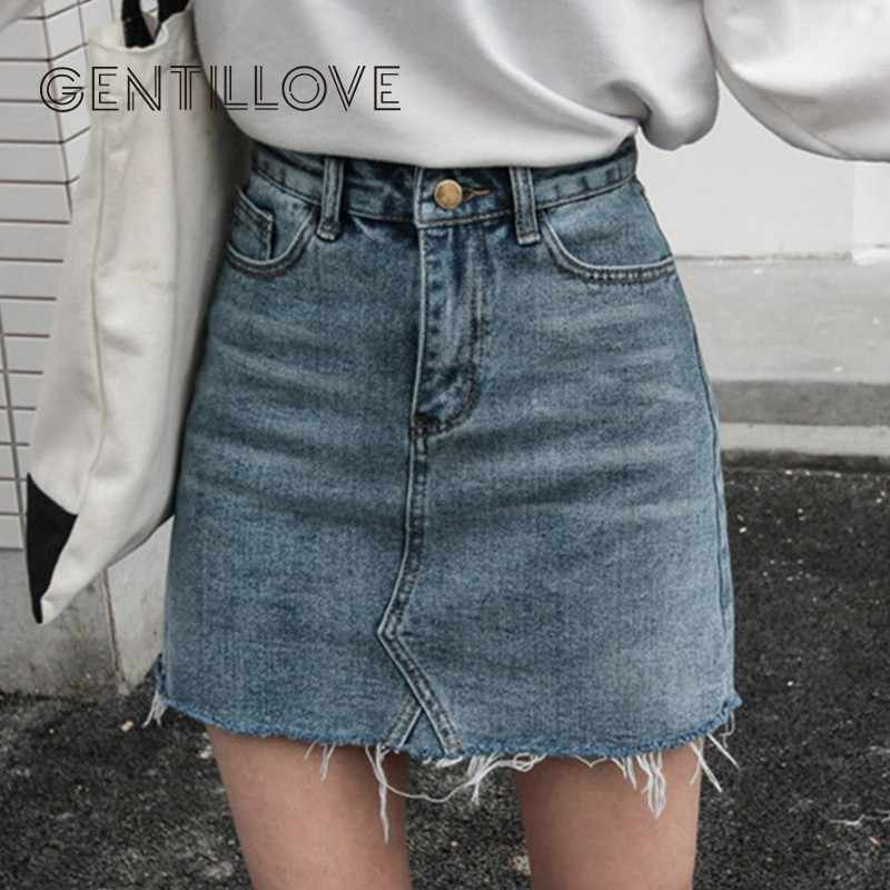 Gentillove casual Della Matita A Vita Alta Denim Gonne Delle Donne 2019 di Estate Nero Blu Solido Con Tasche E Bottoni All-abbinato Gonna Jeans