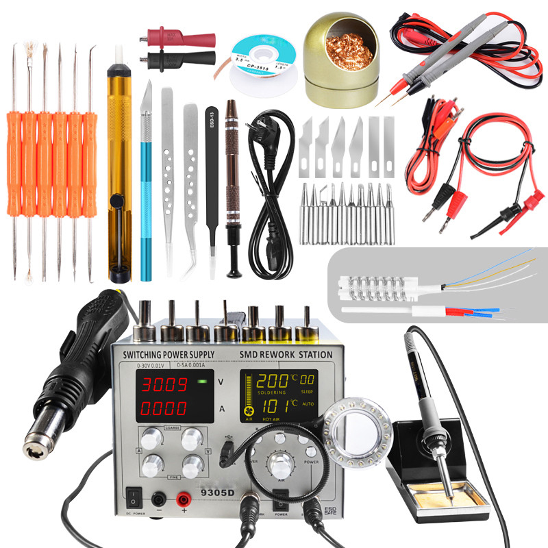 110V 220V 9305D 4 in 1 Hot Air Rework Station Soldering Iron Station 30V 5A DC