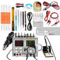 110V/220V 9305D 4 in 1 Hot Air Rework Station + Soldering Iron Station + 30V 5A DC Switching Power Supply + DC 5V 2A USB