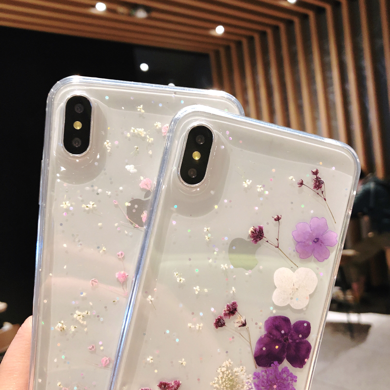 Real Dried Flower Transparent Phone Cases For iPhone XR Xs X XsMax 8 7 6 6S Plus TPU Silicon Clear Case Floral Soft Cover in Fitted Cases from Cellphones Telecommunications