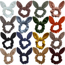 1PC Elastic Cloth Bunny Ear Print Hair Scrunchie Knot Bow Band tie Bows Leopard Ponytail Holder  Rope