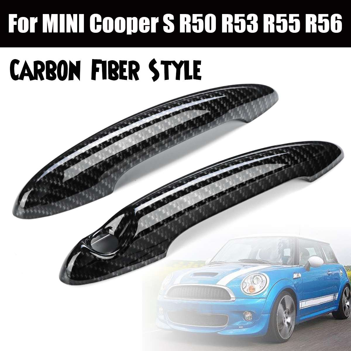 2pcs Car Styling Exterior Door Handle Cover Trim ABS Fits For BMW For MINI CooperS R50 R53 R56 R55 Auto Exterior Parts