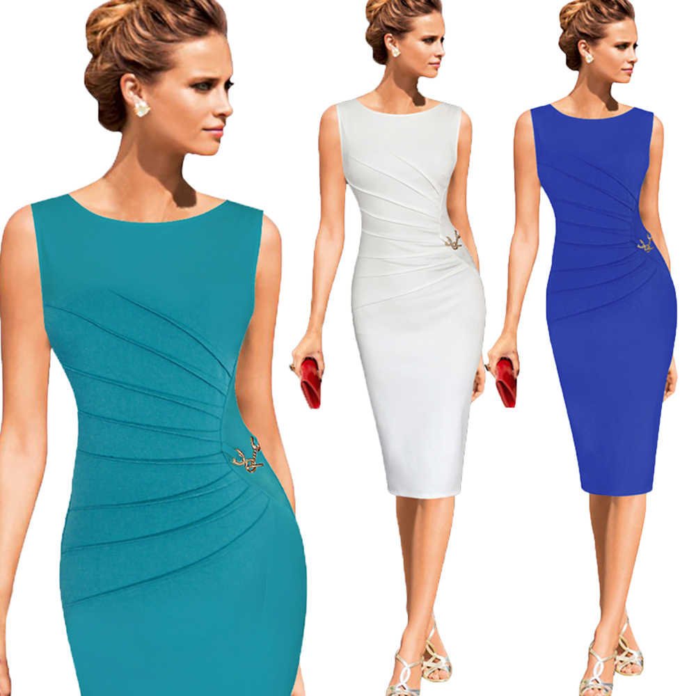 Joineles Elegant Style M~4XL Solid Women Office Dress Plus Size Ruched Bandage Bodycon Pencil Dress Female Club Party Vestidos