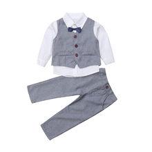 2-7Y pequeño Caballero niño niños bebé niño ropa de manga larga camisa  blanca Tops chaleco pantalón 4 piezas conjunto traje . 77c6912027bf