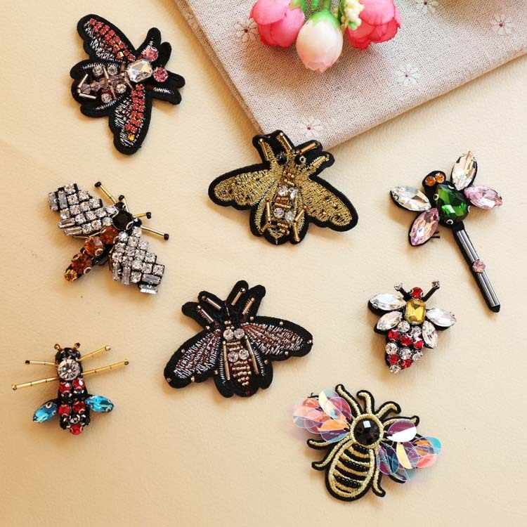 PGY Insect series Rhinestones Patches Dragonfly Badges Crystal Beads Appliques wholesale Coloured beetle Patches Diy Bags Decor