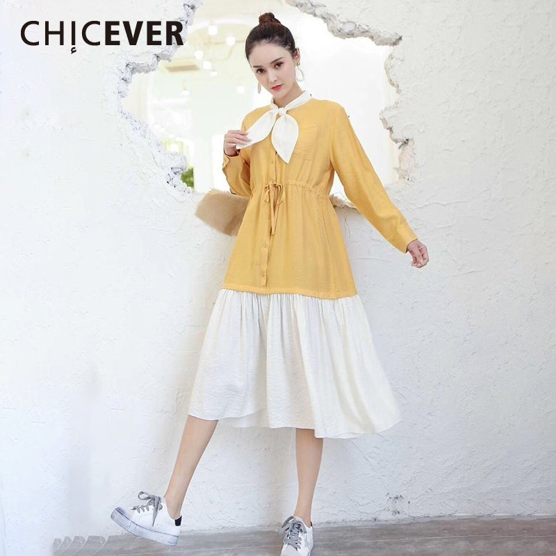 CHICEVER Spring Sweet Patchwork Dress For Women Bow Collar Long Sleeve Button A-line Mid-calf Women's Clothing 2020 Fashion New