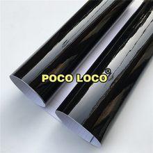 Rolo de vinil preto adesivo brilhante, rolo de folhas de vinil pretas enorme adesivo brilhante