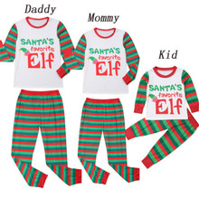 d856b1bd0bf61 Famille correspondant noël coton pyjamas papa et maman enfants lettre  imprimé hauts + pantalon rayé Elf