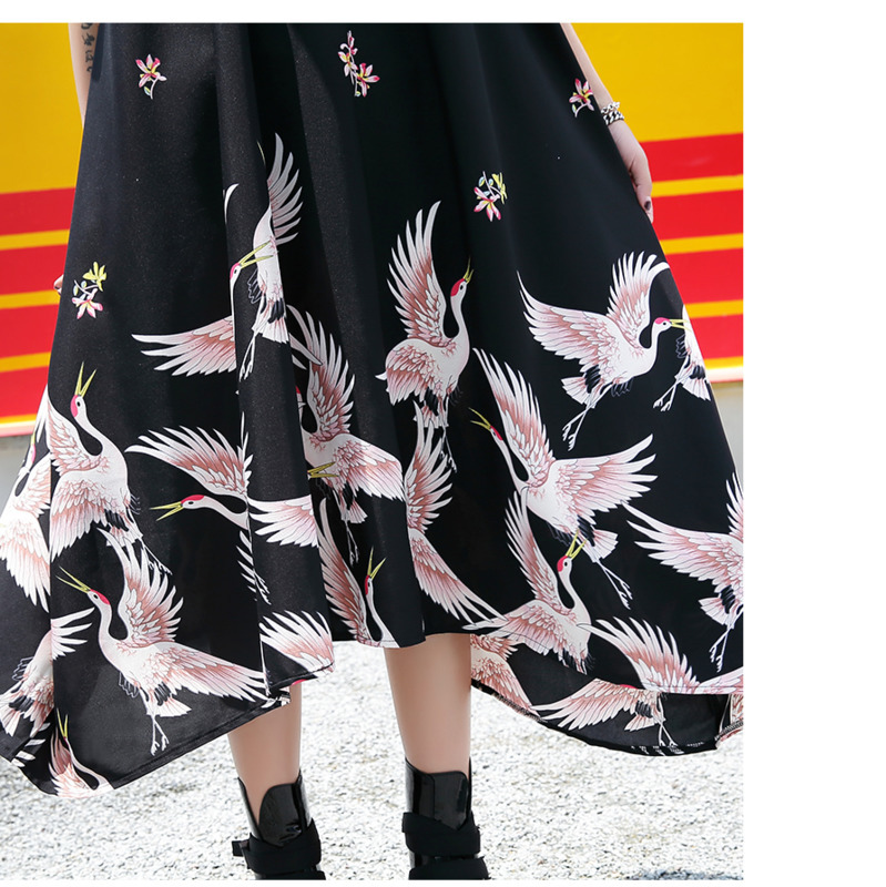 0761 Summer Black Irregular Pleated Dress Women Short Sleeve Printed Oversize Loose Midi Dresses Ladies Casual T Shirt Dress in Dresses from Women 39 s Clothing