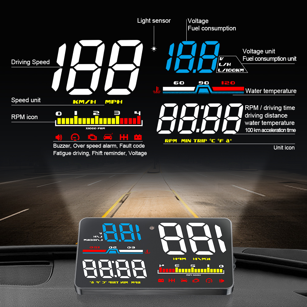 D5000 OBD2 Hud Car Speed Windshield Projector Head Up Display Speedometer Projetor Auto Alarm OBD OBDii Reject Traffic in Head up Display from Automobiles Motorcycles
