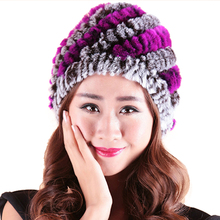 Pineapple Hat  Womens Winter with Real Fur Female Cap Mink Knitted Caps For Women Hold Ears