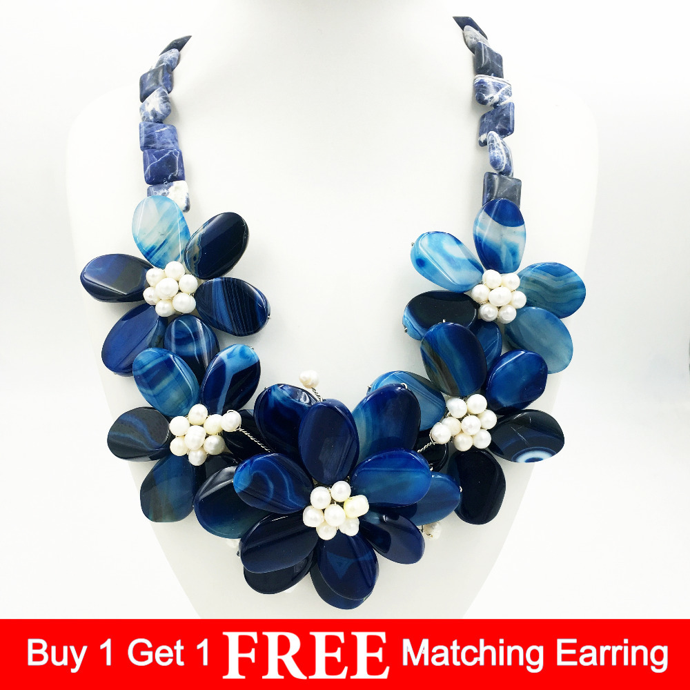 Lii Ji Natural Stone Dye Blue Onyx,Blue Sodalite,Freshwater Pearl Handmade Flower Statement Necklace Jewelry Approx 55cm футболка dc artifunction sodalite blue