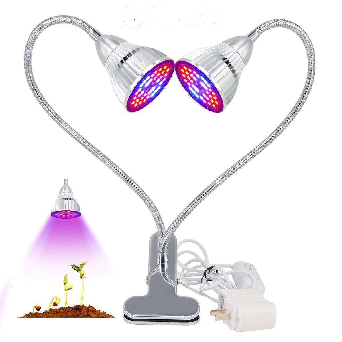 60W Dual Head LED Grow Light Full Spectrum Desk Clip On