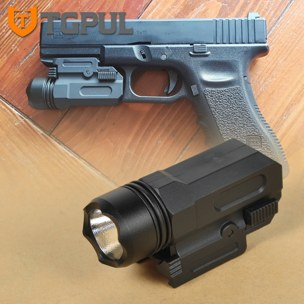 TGPUL Airsoft Mini Pistol Light QD Quick Detach Handgun Flashlight LED Rifle Gun Tactical Torch For 20mm Rail Glock 17 19 18C 24
