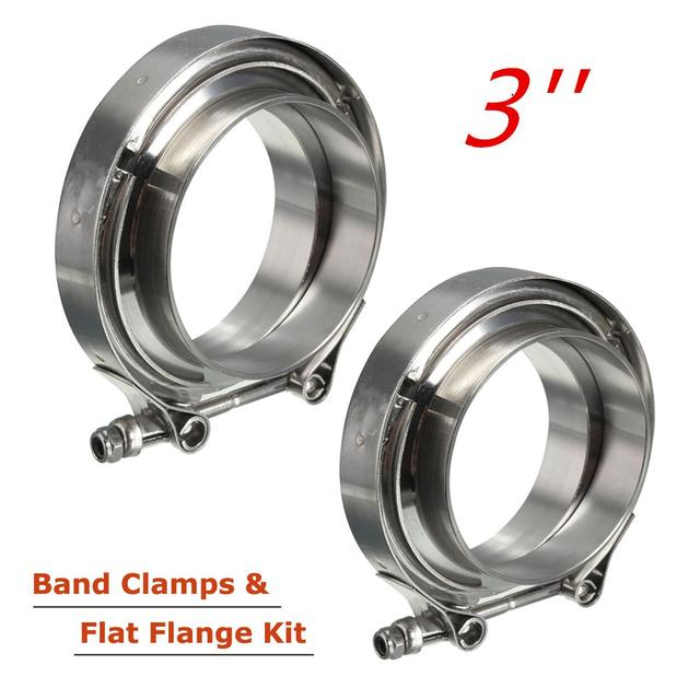 2Pcs 3 inch Universal Car Exhaust Turbo Down Pipe Flanges V-Band V Bands Clamp Hoop Stainless Steel Clamps Flanges