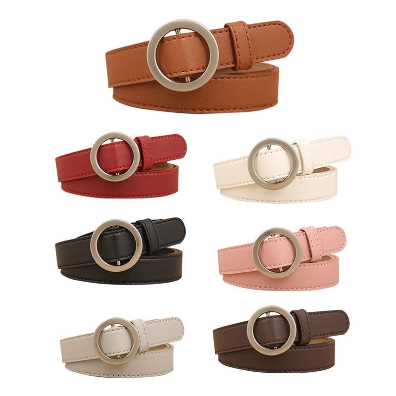 Fashion Luxury Leather   Belt   Men Women For Jeans Dress Round Buckle Waist   Belt   Classic Simple Casual Solid Color Wild   Belt   Black