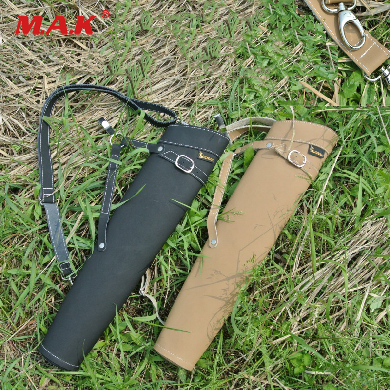 100% Quality 2 Color Arrows Quiver 52x13cm Arrow Bag Leather Arrow Quiver Side Belt Waist Holding For Archery Hunting Shooting