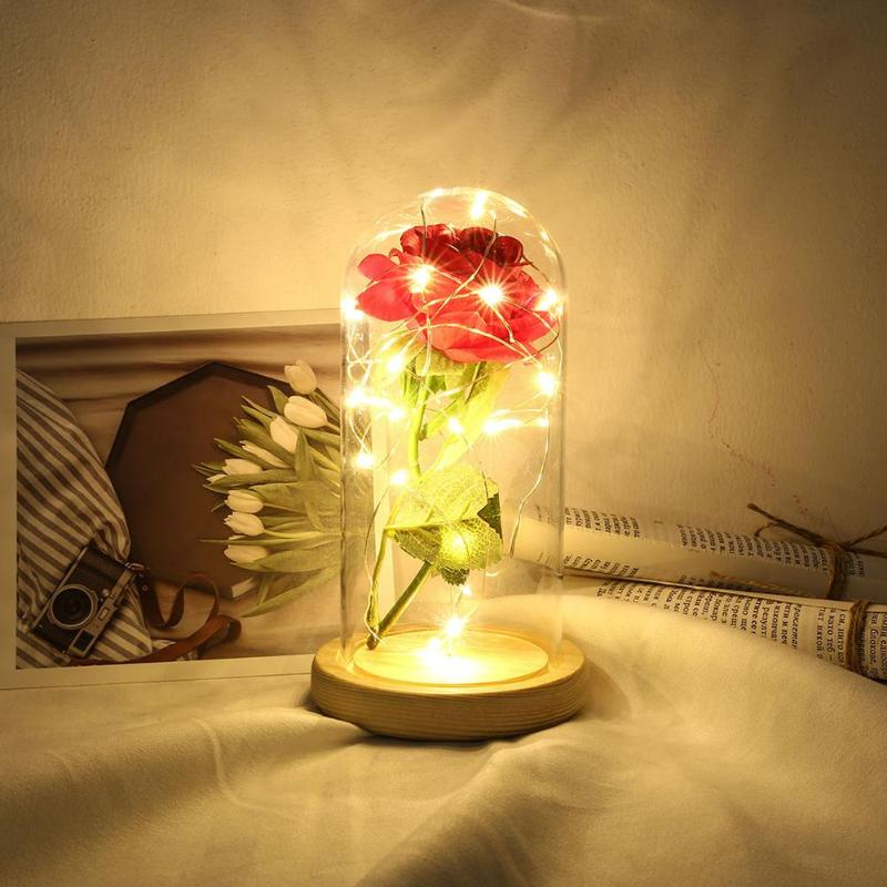 Home & Garden Romantic Valentine Gift Rose 20 Led Copper Wire String Light Glass Dome Wooden Base Night Lamp Home Room Desktop Decoration Good Heat Preservation Festive & Party Supplies